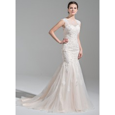 Trumpet/Mermaid Scoop Neck Court Train Tulle Wedding Dress With Beading Appliques Lace Sequins