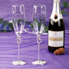 Personalized Cupid With Double Hearts Design Toasting Flutes
