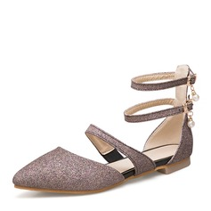 Women's Sparkling Glitter Flat Heel Sandals Flats With Beading shoes