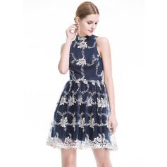 A-Line/Princess High Neck Short/Mini Tulle Lace Cocktail Dress