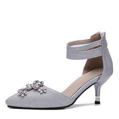 Женщины Атлас кожа Высокий тонкий каблук На каблуках Закрытый мыс с горный хрусталь обувь