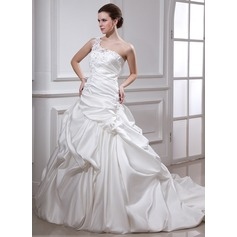 Ball-Gown One-Shoulder Chapel Train Satin Wedding Dress With Ruffle Beading Appliques Lace Flower(s)