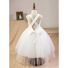 Sweetheart Tea-Length Tulle Junior Bridesmaid Dress With Bow(s)