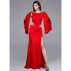 A-Line/Princess Scoop Neck Sweep Train Jersey Prom Dress With Beading Split Front
