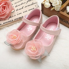 Girl's Real Leather Round Toe Closed Toe Mary Jane Flats With Bowknot Imitation Pearl