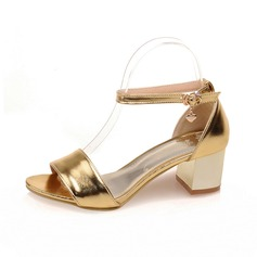 Leatherette Chunky Heel Sandals Peep Toe With Buckle shoes