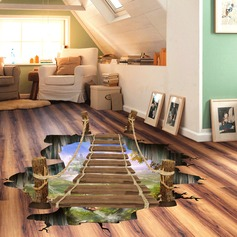 Sky Sea Broken Bridge Pattern PVC Removable 3D Floor Wall Decal  (Sold in a single piece)