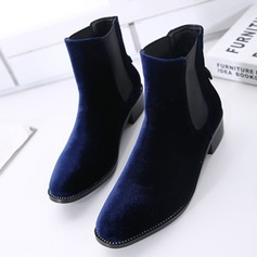 Women's Velvet Chunky Heel Ankle Boots With Split Joint shoes