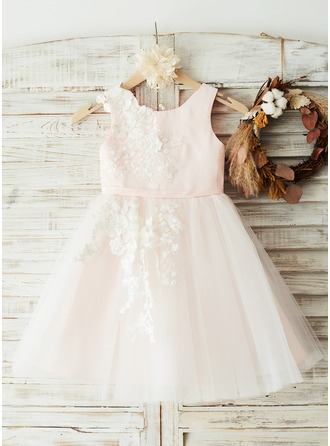 Knee-length Flower Girl Dress - Satin Tulle Lace Sleeveless Scoop Neck With Appliques