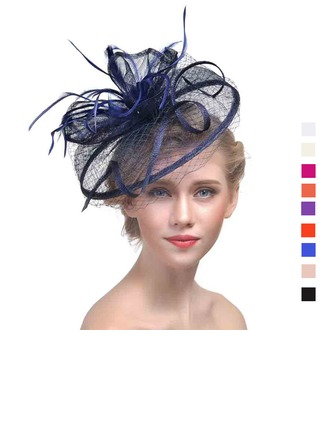 Ladies' Classic Cambric With Feather Fascinators
