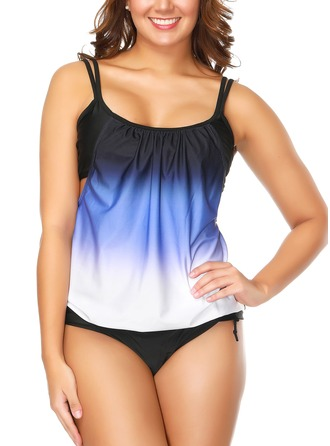 Elegant Colorful Chinlon Spandex Tankinis Swimsuit