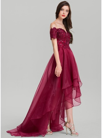 A-Line/Princess Off-the-Shoulder Asymmetrical Organza Prom Dresses With Sequins