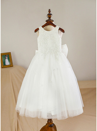 Tea-length Flower Girl Dress - Satin Tulle Sleeveless Scoop Neck With Bow(s)