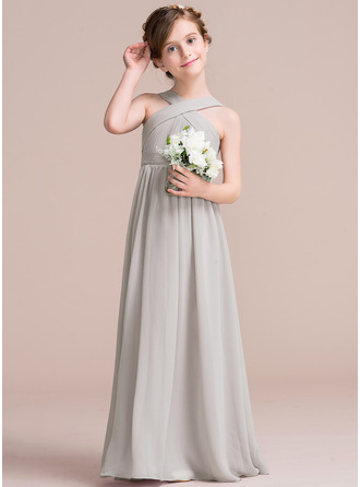 Floor-length Flower Girl Dress - Chiffon Sleeveless V-neck With Ruffles Bow(s)