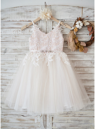 Knee-length Flower Girl Dress - Tulle Lace Sleeveless Straps With Rhinestone