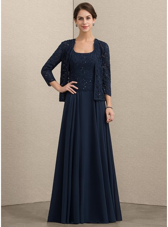 Square Neckline Floor-Length Chiffon Lace Mother of the Bride Dress With Sequins