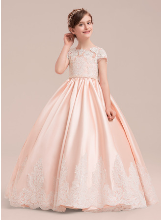 Floor-length Flower Girl Dress - Satin Tulle Lace Short Sleeves Scoop Neck With Beading (Petticoat NOT included)