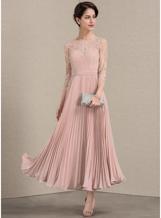Scoop Neck Ankle-Length Chiffon Lace Cocktail Dress With Pleated
