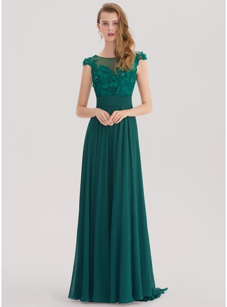 Scoop Neck Sweep Train Chiffon Prom Dresses With Lace Beading