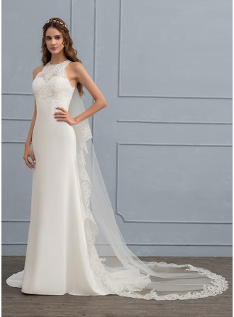 Sheath/Column Scoop Neck Sweep Train Chiffon Wedding Dress