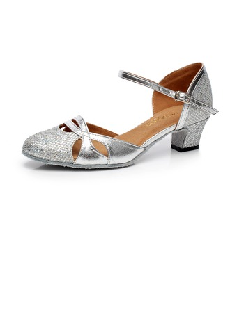 Women's Sparkling Glitter Heels Ballroom With Ankle Strap Buckle Dance Shoes