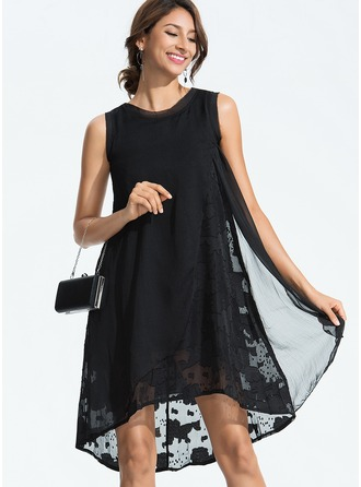 Silk With Lace Asymmetrical Dress