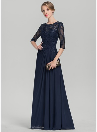 Scoop Neck Floor-Length Chiffon Lace Mother of the Bride Dress With Ruffle Sequins