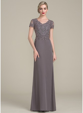 V-neck Floor-Length Chiffon Evening Dress With Beading Sequins