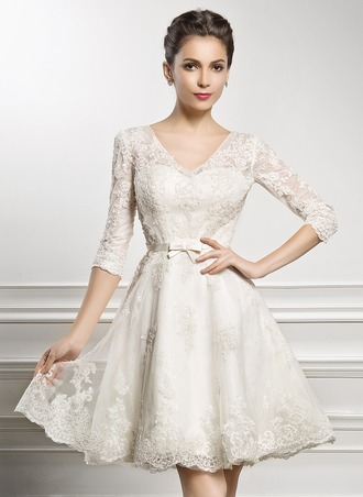 V-neck Knee-Length Lace Wedding Dress With Bow(s)