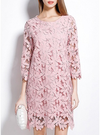 Cotton/Lace With Lace/Stitching Knee Length Dress