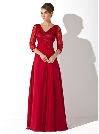 V-neck Floor-Length Chiffon Lace Mother of the Bride Dress With Ruffle Beading Sequins