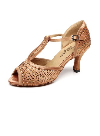 Women's Leatherette Sandals Latin With Rhinestone Dance Shoes