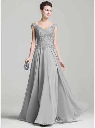 V-neck Floor-Length Chiffon Mother of the Bride Dress With Appliques Lace