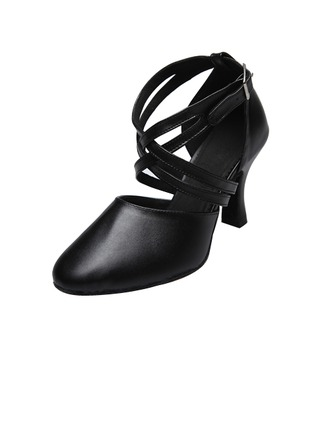 Women's Real Leather Heels Ballroom Swing With Ankle Strap Dance Shoes