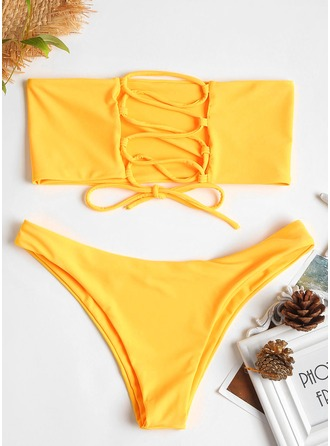 Sexy Bandeau Triangle Polyester Spandex Bikinis Swimsuit
