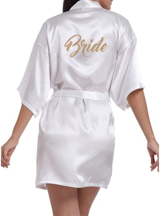 Personalized Bride Bridesmaid Satin With Short Satin Robes