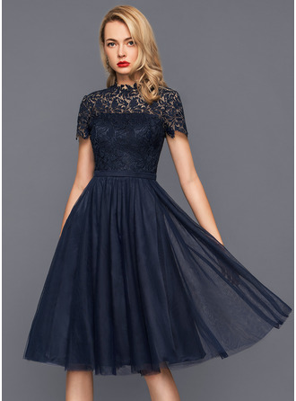 High Neck Knee-Length Tulle Cocktail Dress