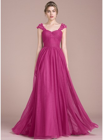Sweetheart Sweep Train Tulle Prom Dresses With Ruffle Flower(s)