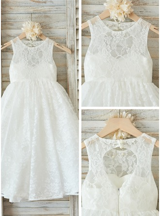 Floor-length Flower Girl Dress - Tulle Lace Sleeveless Scoop Neck With Back Hole