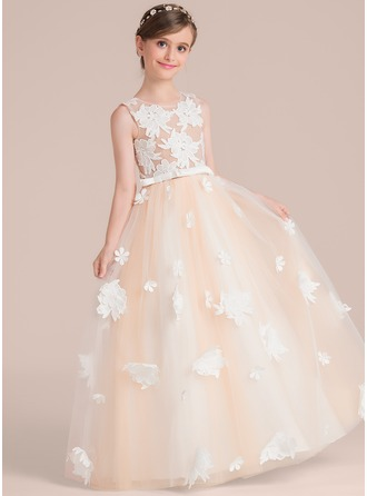 Floor-length Flower Girl Dress - Satin Tulle Lace Sleeveless Scoop Neck With Flower(s) Bow(s)