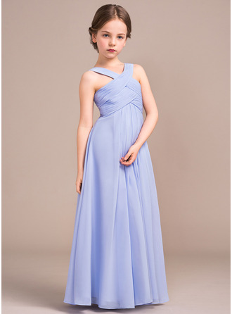 Floor-length Flower Girl Dress - Chiffon Sleeveless V-neck With Ruffles