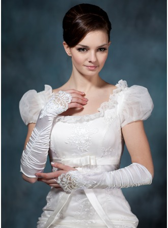 Elastic Satin Elbow Length Bridal Gloves