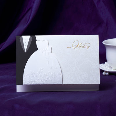 Bride & Groom Estilo prega Topo Invitation Cards