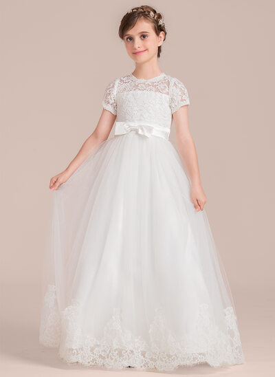 Ball Gown Floor-length Flower Girl Dress - Tulle/Charmeuse/Lace Short Sleeves Scoop Neck With Bow(s)