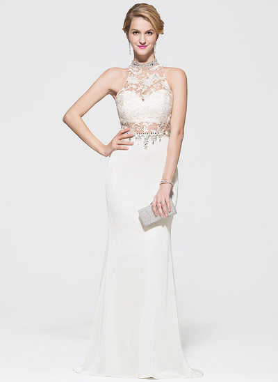 Trumpet/Mermaid Scoop Neck Sweep Train Lace Jersey Prom Dresses With Beading Sequins