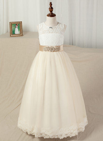 A-Line/Princess Floor-length Flower Girl Dress - Satin/Tulle/Lace Sleeveless Scoop Neck With Sash/Beading
