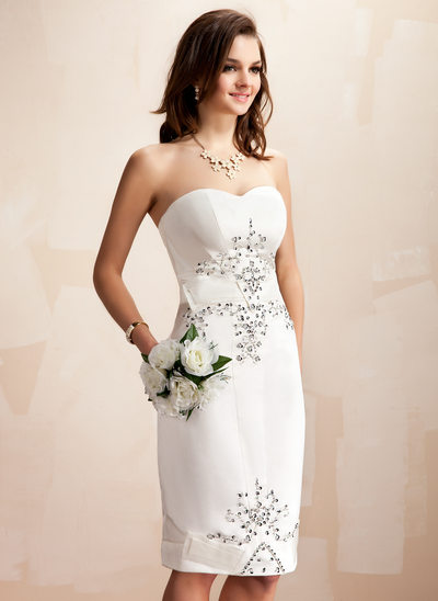 Sheath/Column Sweetheart Knee-Length Satin Wedding Dress With Beading Sequins