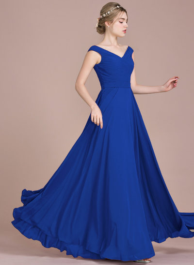 A-Line/Princess Off-the-Shoulder Floor-Length Chiffon Prom Dresses With Ruffle