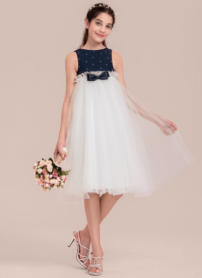 Empire Scoop Neck Knee-Length Tulle Junior Bridesmaid Dress With Beading Bow(s)