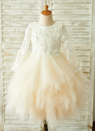 Ball-Gown/Princess Knee-length Flower Girl Dress - Tulle/Lace Long Sleeves Scoop Neck